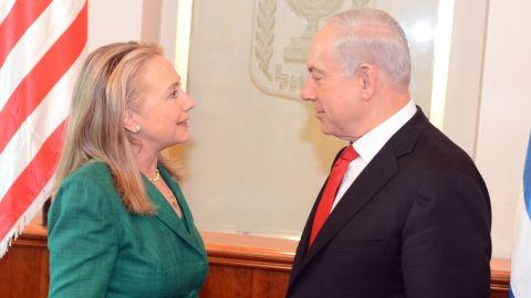 In this handout provided by U.S. Embassy Tel Aviv, U.S. Secretary of State Hillary Clinton meets with Israel's Prime Minister Benjamin Netanyahu (R) on November 21, 2012 in Jerusalem, Israel. Hillary Clinton has joined International efforts to broker a ceasefire amid continued Israeli air strikes and Hamas rocket attacks from Gaza.