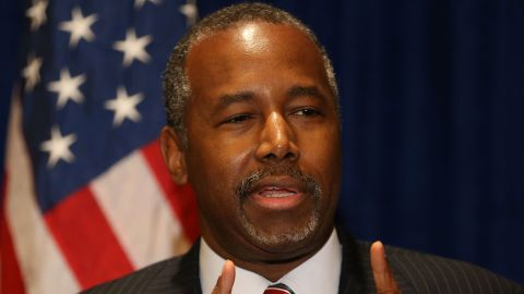 PALM BEACH GARDENS, FL - NOVEMBER 06:  Republican presidential candidate Ben Carson speaks to the media before speaking at a gala for the Black Republican Caucus of South Florida at PGA National Resort on November 6, 2015 in Palm Beach, Florida. Mr. Carson has come under media scrutiny for possibly exaggerating his background and other statements he has made recently.  (Photo by Joe Raedle/Getty Images)