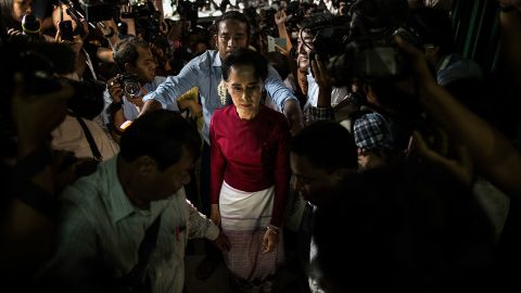 Suu Kyi arrives at a polling station to cast her vote in 2015. Her party won a historic majority in the nation's first freely held parliamentary elections. Suu Kyi was not able to become president, however, because of a constitutional amendment that prohibits anyone with foreign relatives from becoming the nation's leader. She was later named state counselor, a role created especially for her.