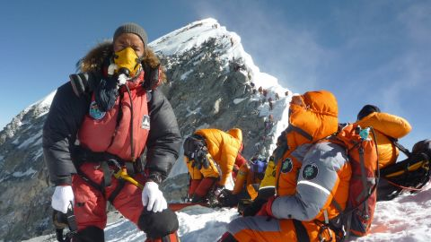 Everest is the tallest mountain in the world, at 8,847 meters above sea level. Low oxygen at that altitude pushes human endurance to its limits. Pictured, Sherpa mountaineer Pemba Dorje Sherpa and others on Everest, 2009.