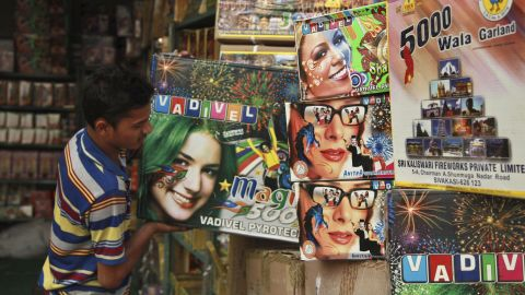 Packets of firecrackers are arranged at a shop in Jammu, India, on November 10.