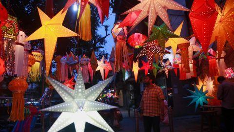 Lanterns are on display in Mumbai on November 10.