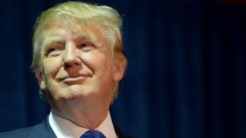 """MANCHESTER, NH - NOVEMBER 11: Republican Presidential candidate Donald Trump speaks at """"Politics And Eggs"""" at the Radisson Hotel, on November 11, 2015 in Manchester, New Hampshire. Coming off the fourth debate Trump continues to run strong in the polls. (Photo by Darren McCollester/Getty Images)"""