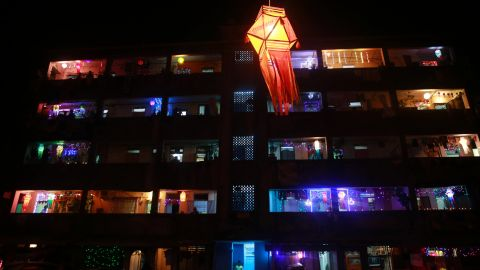 Homes are illuminated in Mumbai, India, on November 11. The festival symbolizes the victory of good over evil and light over darkness.