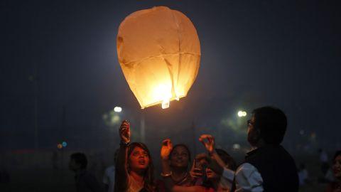 A sky lantern is released in Mumbai on November 11.