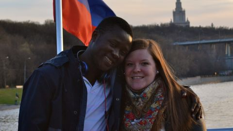 Eric and Kristin Njimegni met in Moscow while studying and working and now live in Keewatin, Minnesota.