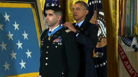 """Army Capt. Florent A. Groberg receives the Medal of Honor from President Barack Obama during a White House ceremony on November 12 for his actions in Afghanistan. Groberg was born in France, lived in Spain and later moved with his family to the United States, where he became a naturalized U.S. citizen in 2001. Groberg <a href=""""http://www.army.mil/article/156956/Groberg_to_receive_Medal_of_Honor_for_actions_in_Afghanistan/"""" target=""""_blank"""" target=""""_blank"""">saved</a> lives when he tackled a suicide bomber in August 2012."""