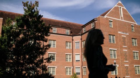 Mary stands in front of Wildwood Hall which is now located in the same location as the old Pike House on the Florida State University campus. Mary said it makes her feel better to know tha the Pike House were she was gang raped no longer exists. Mary returned to Florida State University for the first time in 25 years in an effor to complete the healing process after she was gang raped by Pi Kappa Alpha franternity brothers in 1988.