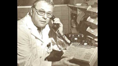 Louis Vitullo appears with the rape kit that bears his name in the January 1979 edition of the Chicago Police Star.
