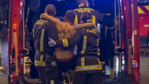 A wounded man is evacuated from the Stade de France  in Saint-Denis, outside Paris.