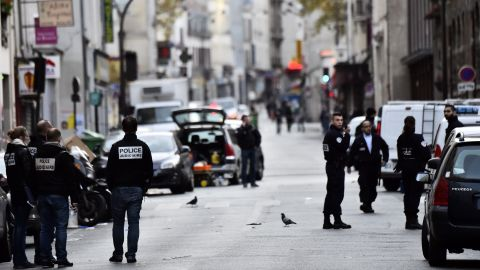 Police are out in force November 14 near La Belle Equipe, one of the sites of the terror attacks.