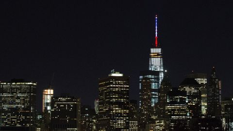 In New York, the antenna of One World Trade Center was lit on November 13.<br />