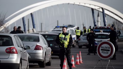 French police check vehicles on the so-called European bridge between Strasbourg and Kehl, Germany, on November 14.