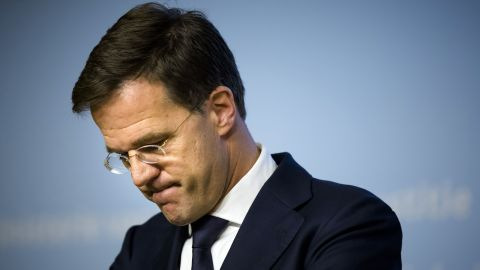 Dutch Prime Minister Mark Rutte after a speech on November 14 in The Hague