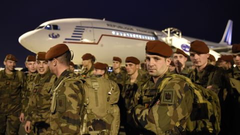 Soldiers from the 3rd Marine Infantry Parachute Regiment of Carcassonne arrive at Charles de Gaulle Airport in Paris as security reinforcements on November 14.