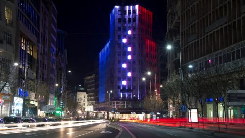 The Palace Albania building in Belgrade, Serbia, is lit in the colors of the French flag on November 14.
