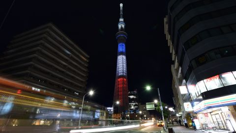 The Tokyo Skytree is lit up in the colors of the French flag on November 15.