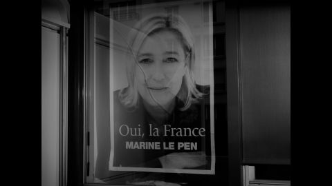 A poster of Marine Le Pen, the leader of France's extreme-right National Front party. <br />