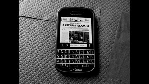 """Majoli took this photo of his Blackberry after a friend told him about the headline -- Bastardi Islamici -- in the Italian right-wing newspaper. """"It's a really shocking title for me. It's a hatred title,"""" Majoli said.<br />"""