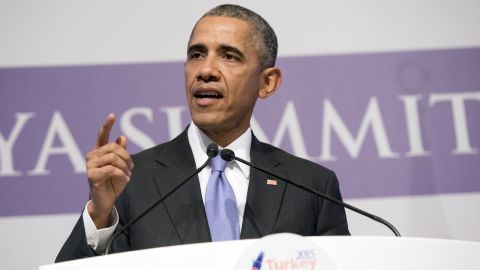 US President Barack Obama holds a press conference following the G20 summit in Antalya, on November 16, 2015. World leaders on November 16 committed to join forces to bring peace to Syria and destroy the Islamic State jihadist network, hoping to curb the extremist menace after the Paris attacks. AFP PHOTO / SAUL LOEB        (Photo credit should read SAUL LOEB/AFP/Getty Images)