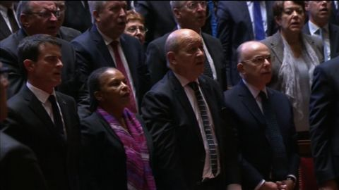 """French parliament sings the """"La Marseillaise"""" following Francoise Hollande's address to the joint session of French Parliament just days after the Paris terror attacks killed over 100 people."""