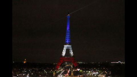 The Eiffel Tower in Paris is illuminated in the French national colors on Monday, November 16. Displays of support for the French people were evident at landmarks around the globe after the deadly terrorist attacks in Paris on Friday, November 13.