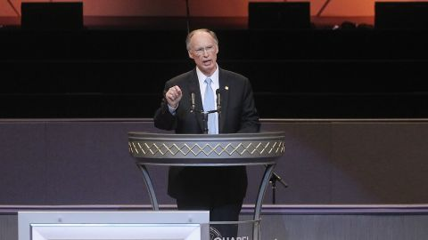 BIRMINGHAM, AL - OCTOBER 24:  Alabama Gov. Robert Bentley (Top) speaks behind the body of deceased civil rights icon Fred Shuttlesworth during his funeral at Faith Chapel Christian Center on October 24, 2011 in Birmingham, Alabama. Shuttlesworth?s family was attacked and his home and church were bombed during the time fought for civil rights for blacks in Birmingham. Birmingham, along with Selma and Montgomery, were touchstones in the civil rights movement which eventually spread across the South and throughout America. Shuttlesworth died October 5. (Photo by Mario Tama/Getty Images)