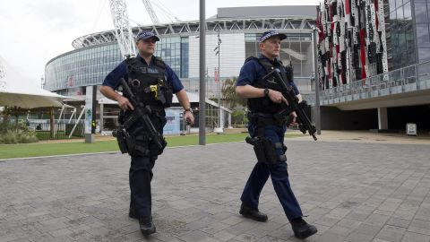 Earlier Tuesday, armed British police officers patrolled around Wembley Stadium.