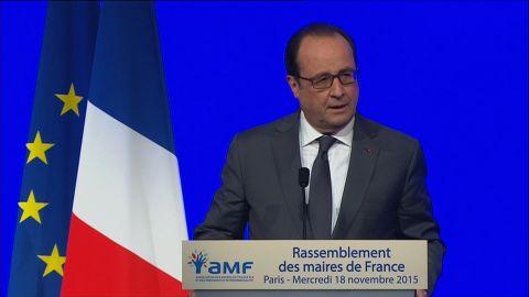 French President Francois Hollande speaking on November 18.