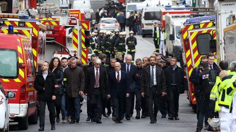 French Interior Minister Bernard Cazeneuve visits Saint-Denis during the raid on November 18.