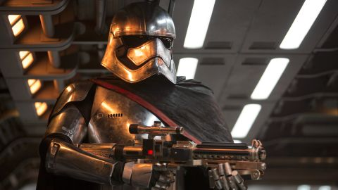 """<strong>Captain Phasma</strong> (Gwendoline Christie), a chrome-wearing stormtrooper from the First Order. Christie is one of numerous """"Game of Thrones"""" cast members to feature in the film, including Max von Sydow as Lor San Tekka."""