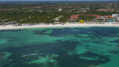 Aerial view of Punta Cana, east of the Dominican Republic on April 16, 2015. Dominican Republic receives each year more than five million tourists from all over the world, and is working to double that amount in 2020. AFP PHOTO/ERIKA SANTELICES        (Photo credit should read ERIKA SANTELICES/AFP/Getty Images)