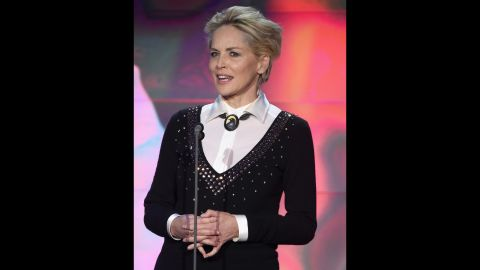"""Academy Award nominated actress Sharon Stone -- star of TNT's new series """"Agent X"""" --  presented an award during the ceremony, which was held at New York's American Museum of Natural History."""