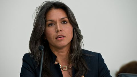 """U.S. Democratic Representative from Hawaii Tulsi Gabbard speaks during a hearing of the Tom Lantos Human Rights Commission (TLHRC) on """"The Plight of Religious Minorities in India"""" on Capitol Hill in Washington on April 4, 2014."""