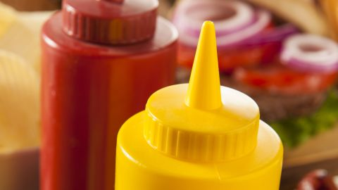 """The dreaded condiment shelf, filled with a half-used bottle of ketchup, crusty mustard and a sad mayo jar from last summer, is so often forgotten. But before you toss, remember that condiments are some of the longest-lasting players in the fridge. The dates on the bottles are really more """"best buy"""" dates, not expiration dates, and the products are usually good for several months after the date. Once opened, most mayo is good two to three months after the """"best by"""" date; ketchup keeps its flavor for about six months in the fridge; and mustard and pickles are good for up to a year! Salad dressings last about six to nine months. And that jar of salsa that you couldn't finish? It can last about a month in the fridge, but you want to make sure to actually finish it by the best by date on the bottle."""