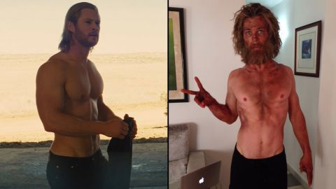 """If you know Chris Hemsworth as the mighty Thor -- at left in 2011 -- his diminished size and scraggly face for the upcoming film """"In the Heart of the Sea"""" might come as a shock. Hemsworth <a href=""""https://twitter.com/chrishemsworth/status/668417450946375680/photo/1"""" target=""""_blank"""" target=""""_blank"""">tweeted the photo on the right </a>in November 2015. """"Just tried a new diet/training program called 'Lost At Sea.' Wouldn't recommend it,"""" he wrote."""