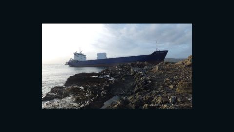 """7,000 ton cargo vessel """"Lysblink Seaways"""" which ran aground on the north-west coast of Scotland after the officer on watch drank half a liter of rum."""