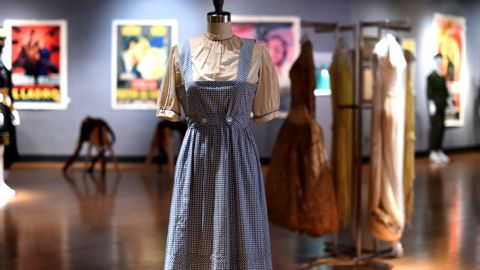 """The iconic blue gingham apron and shirt costume that Judy Garland wore as Dorothy in the 1939 classic """"The Wizard of Oz"""" sold for $1,565,000 at a New York auction. Here are other items that fetched eye-popping record sales prices on the auction block in recent times:"""