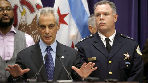 Chicago Mayor Rahm Emanuel, left, and Police Superintendent Garry McCarthy appear at a news conference, Tuesday, Nov. 24, 2015, in Chicago, announcing first-degree murder charges against police officer Jason Van Dyke in the Oct. 24, death of 17-year-old Laquan McDonald. The city then released the dash-cam video of the shooting to media outlets after the news conference. (AP Photo/Charles Rex Arbogast)