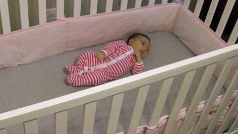 """The American Academy of Pediatrics Safe to Sleep Campaign suggests that <a href=""""http://www.cnn.com/2015/12/01/health/crib-bumper-deaths-rise/"""">no soft bedding -- including bumpers -- be used in cribs</a>. <br />They pose a risk of suffocation, strangulation or entrapment. Mattresses should be very firm, and no toys or pillows should be used. Cribs with drop rails also should not be used. The American Academy of Pediatrics offers more guidance on how to choose a safe crib.<br />"""