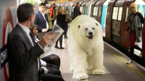 """<strong>January 27:</strong> An animatronic polar bear visits the London Underground to mark the launch of """"Fortitude,"""" Sky Atlantic's new TV drama."""