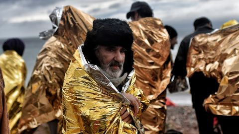 Refugees and migrants arrives on the Greek Island of Lesbos, after crossing the Aegean sea from Turkey.