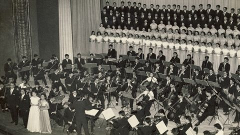 Li Delun leads the Chinese National Symphony Orchestra in their first performance of Beethoven's Ninth Symphony in 1959, ten years after Mao Zedong took power