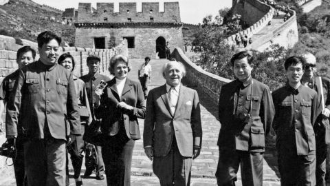 Eugene Ormandy (center), late conductor of the Philadelphia Orchestra, with Chinese conductor Li Delun (left). President Nixon sent the orchestra on a historic trip to China in 1973.