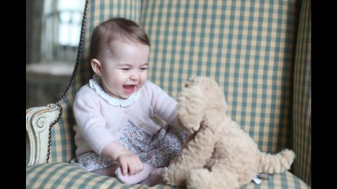 Charlotte plays with a stuffed dog in a photo taken by her mother in November 2015.