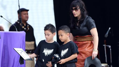 Lomu leaves behind wife Nadene and her two sons, Brayley (L) and Dhyreille, who were at Eden Park for the service.