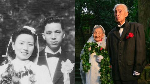 Cao Yuehua and his wife Wang Deyi on the day they were married in 1945, and 2015.