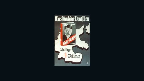 """A Nazi-era poster pitches Hitler's """"Mein Kampf"""" as """"the book of Germans"""" and boasts 4 million copies."""