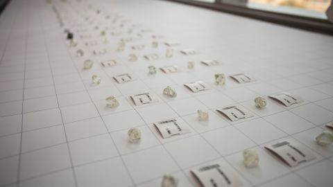 'Special' stones -- diamonds at least 10 carats in weight -- await valuation at De Beers' Global Sightholder Sales operation in Gaborone, Botswana.