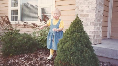 Sarah was diagnosed with juvenile arthritis in 1992, when she was 11 months old. In this photo, Sarah was finally learning to walk braces.